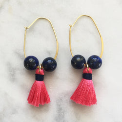 lapis lazuli and pink tassel earrings