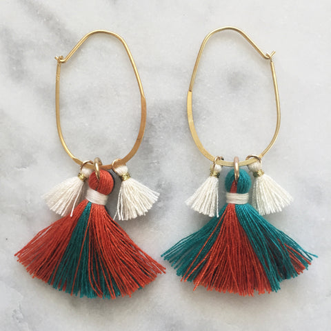 cream orange green tassel earrings