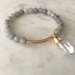 The Healer Bracelet - Labradorite & Clear Quartz