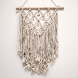 Moonstone & Rose Quartz Macrame Wall Hanging