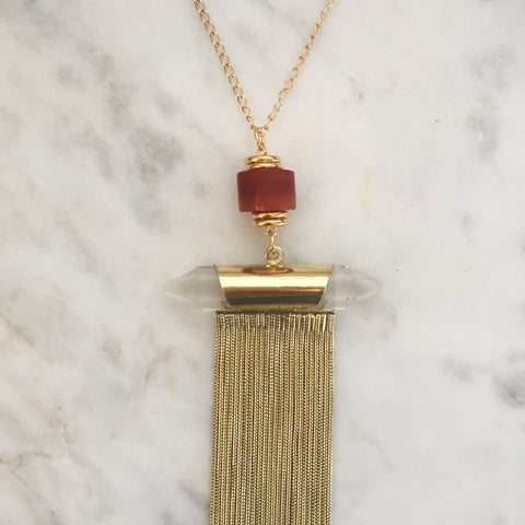 Supreme Gift Gold Necklace - Carnelian & Clear Quartz
