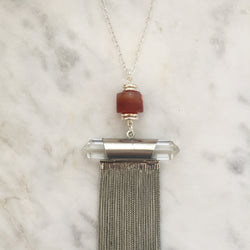 Supreme Gift Silver Necklace - Carnelian & Clear Quartz