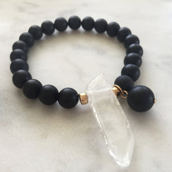 Thou Art That Bracelet - Onyx & Clear Quartz
