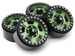 Boom Racing Krait™ 1.9 Golem Aluminum Beadlock Wheels with +8mm Widener (4) Green