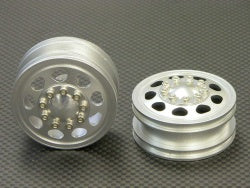 Tamiya Truck Alloy Front Wheel (9 Hole) - silver