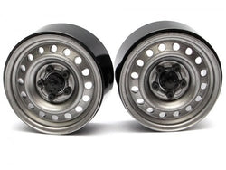 1.9 Badass Classic 16-Hole Steelie & CNC Aluminum Beadlock Wheels W/ Center Hubs (Rear) Gun Metal
