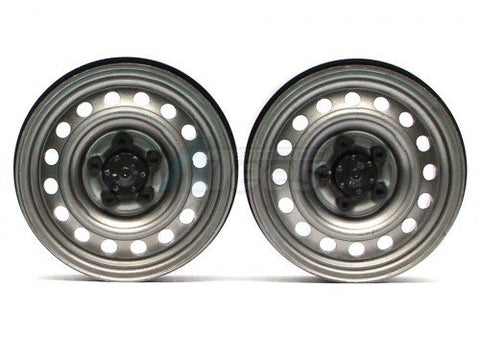 1.9 Narrow 21mm Badass Classic 16-Hole Steelie & CNC Aluminum Beadlock Wheels w/ Center Hubs (Rear) Gun Metal