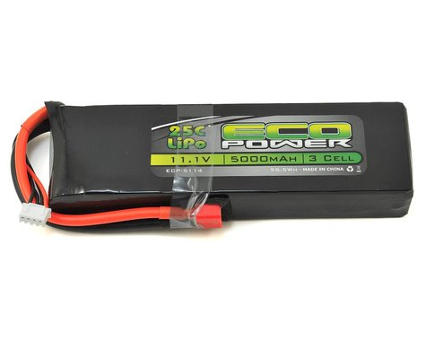 "EcoPower ""Electron"" 3S LiPo 25C Battery (11.1V/5000mAh) w/T-Style Connector"