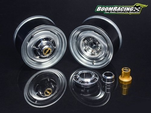 1.55 Yota LC Classic Front Beadlock Wheels (2) with 3mm Wideners (2) Gun metal