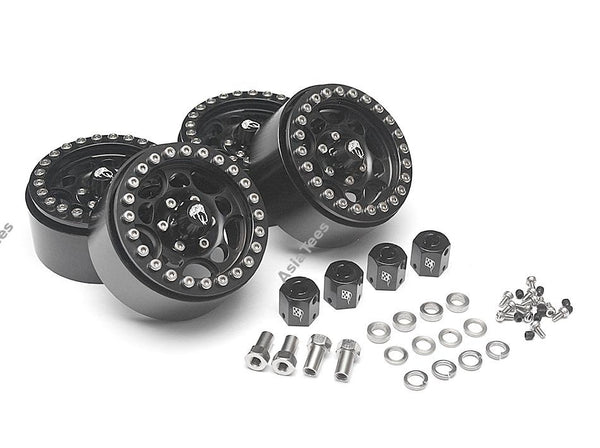 Boom Racing Sandstorm KRAIT™ 1.9 Aluminum Beadlock Wheels with 8mm Wideners (4) [Recon G6 Certified] Black