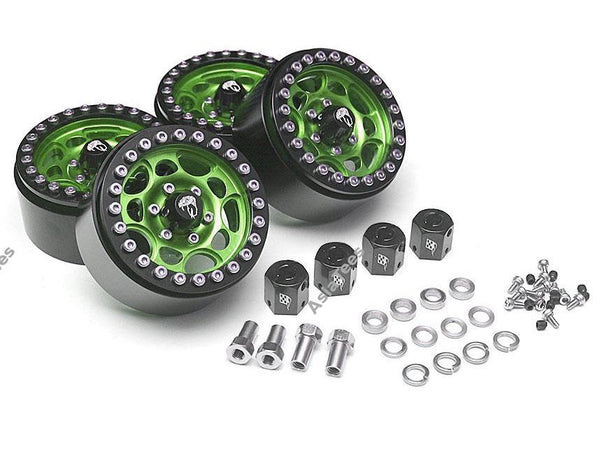 Boom Racing Sandstorm KRAIT™ 1.9 Aluminum Beadlock Wheels with 8mm Wideners (4) [Recon G6 Certified] Green