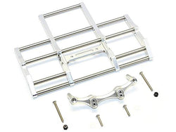 GPM Racing Aluminium Front Bumper With Stainless Steel Screws For Tractor Truck Mercedesenz 56348 - 1Set Silver for Tamiya 1/14 Truck (1838LS)