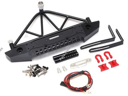 Team Raffee Co. Steel Tough Rear Bumper W/ Shackles Led Light & Spare Tire Mount Black for Axial SCX10