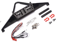 Team Raffee Co. Steel Stinger Front Bumper with Towing Hooks Winch Mount Shackles & LED Light Set Black for Axial SCX10 II