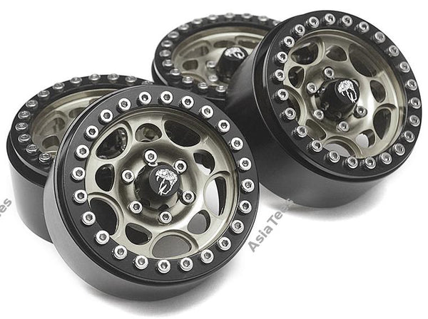 Boom Racing Sandstorm KRAIT™ 1.9 Aluminum Beadlock Wheels with 8mm Wideners (4) [Recon G6 Certified] Gun Metal