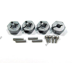 GPM Racing Aluminum Wheel Hex Drive Adaptor With Pins & Screws 4 Pcs Set Gun Metal for Tamiya TT-01