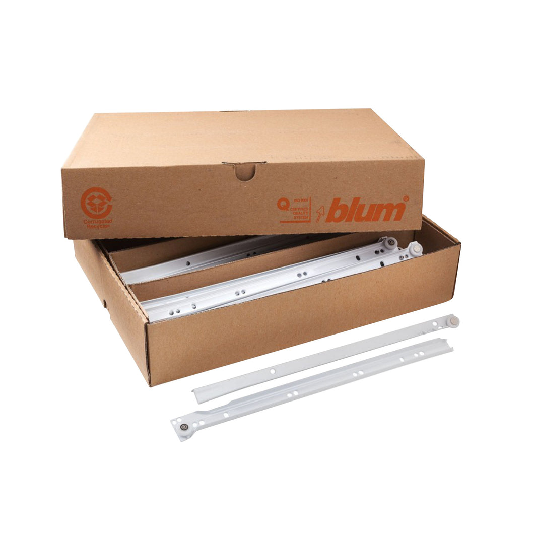 Case Of 25 Blum 14-inch (13.75-inch) 75 lb Capacity 0.75 Extension Euro Epoxy Cabinet Drawer Slide Model 230M White
