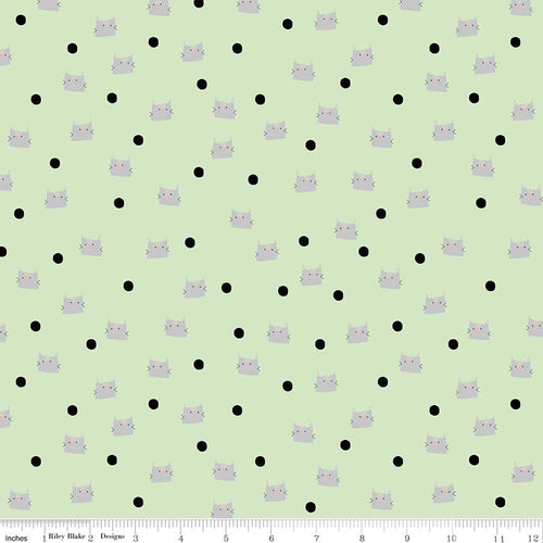 Meow and Forever Dots Green fabric by Riley Blake