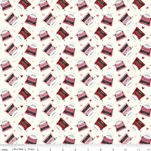 Hello Sweetheart Typewriters Cream Cotton Fabric from Riley Blake Designs