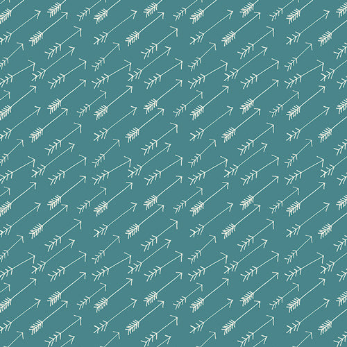White Sketched Arrows on Teal Background Knit Art Gallery Fabrics Hello Bear Adventure Springs 95% cotton 5% spandex 60 inches wide