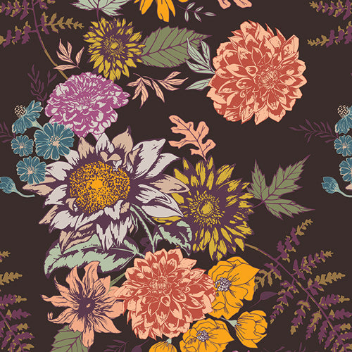 100% Cotton Quilting Fabric from Art Gallery Fabrics Autumn Vibe by Maureen Cracknell Floral Glow in Cocoa