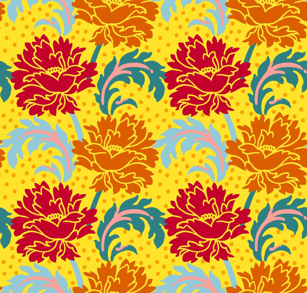 Dianthus Stamped Flower Yellow Cotton Quilting Fabric from Paintbrush Studios