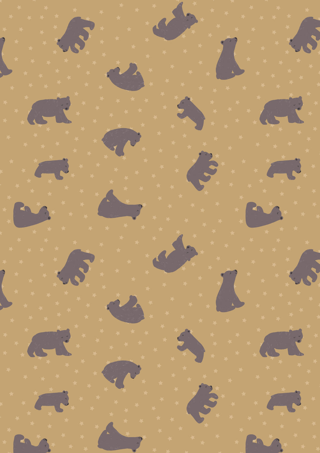 Bear Hug Starry Bear Ochre Fabric by Lewis & Irene