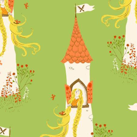 Heather Ross Far Far Away 2 Green Repunzel Quilting Fabric