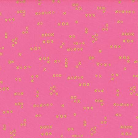 Sweet Pea & Gold XXOO Batik Quilting Fabric