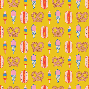 Step Right Up Carnival Snacks Yellow Paintbrush Studio Cotton Quilting Fabric