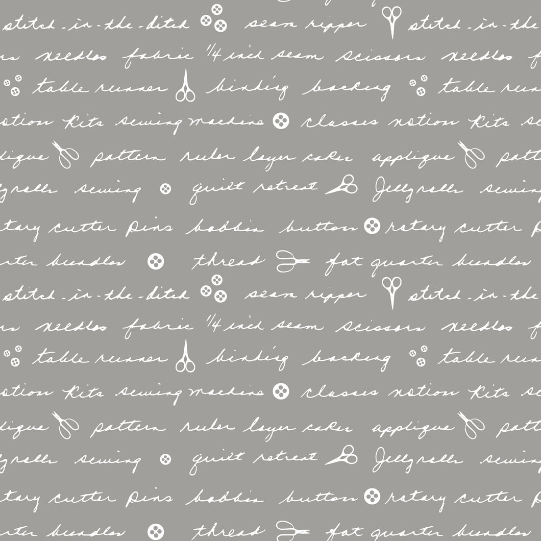 Mom's Handwriting Shades of Grey from Sweet Bee Designs fabric