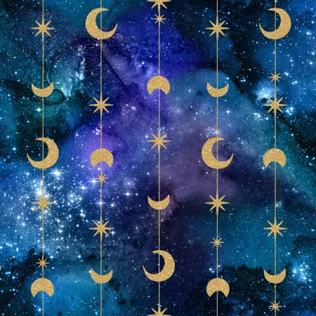 Galaxy Multi Moons & Stars Metallic 3 Wishes quilting fabric