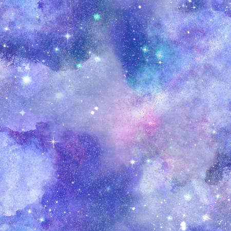 Galaxy Purple Sky w/ Glitter 3 Wishes quilting fabric