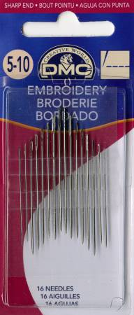 DMC Embroidery / Crewel Needles Assorted Sizes 5/10