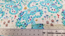 Lagoon Map Natural Fabric - Stitch Morgantown