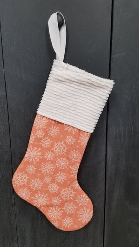 Handmade Pink Snowflakes Christmas Stocking by 15 Pieces of Flair
