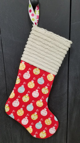 Handmade Red Ornaments Christmas Stocking with Vintage Chenille Cuff from 15 Pieces of Flair