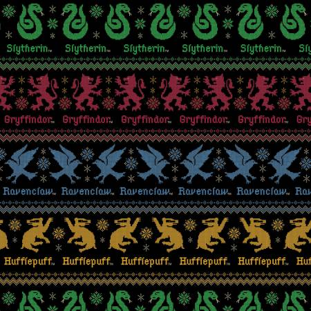Hogwarts Houses Ugly Sweater Novelty Cotton fabric from Camelot