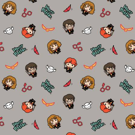 Grey Harry Potter Kawaii Trio Toss by Camelot Cotton Quilting Fabric
