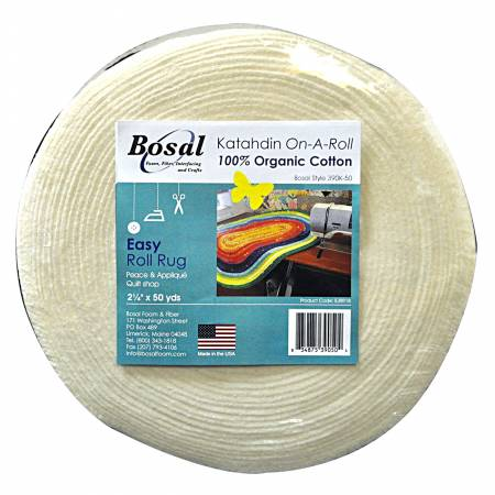 Katahdin On A Roll Bosal 2.5 inches x 50 yards cotton batting for jelly roll rug