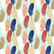 Feathers Mint Fabric - Stitch Morgantown