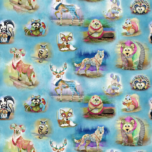 Wild & Whimsey Animals Multi Quilting Fabric by 3 Wishes