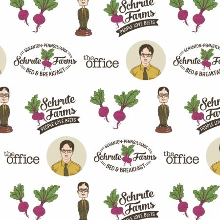 White The Office Schrute Business Cotton Fabric by Camelot