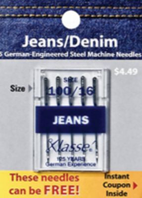 Klasse Needle Denim 100/16 Package of 5