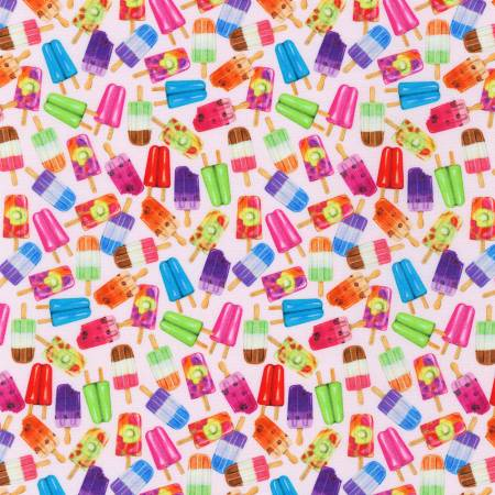 Sweet Tooth Strawberry Popsicles Cotton Fabric by Robert Kaufman