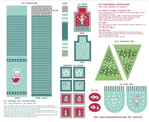 Christmas Glow Elf Accessories Panel by Lewis & Irene