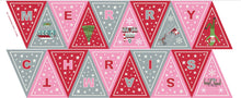 Christmas Glow Pink/Red Bunting Panel by Lewis & Irene