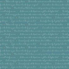 Dream Weaver Text Teal from Riley Blake Designs quilting fabric