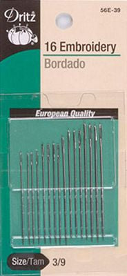 Dritz Embroidery Needles 16 pack Size 3/9