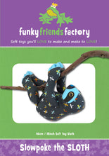 Slowpoke the sloth stuffed toy pattern by funky friends factory